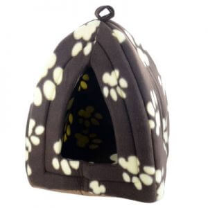 Cat Igloo Bed in Brown With White Paw Prints
