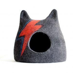 Aladdin Sane Cat Bed. Ziggy Stardust Cat Wool House. Felted Pet