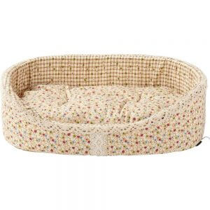 Bunty Blossom Dog Bed Soft Washable Flower Fabric Cushion Warm Luxury Pet Basket, Cream / Small
