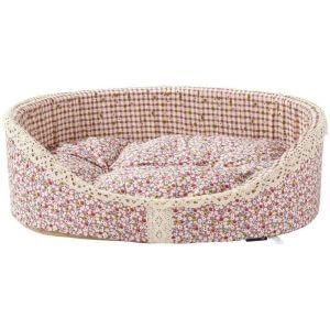 Bunty Blossom Dog Bed Soft Washable Flower Fabric Cushion Warm Luxury Pet Basket, Pink / Small
