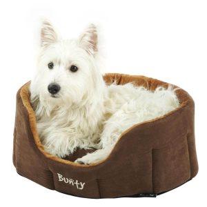 Bunty Lounger Dog Bed Soft Washable Fleece Fur Cushion Warm Luxury Pet Basket, Brown / Small