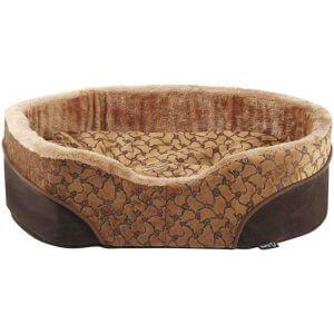 Bunty Mocha Dog Bed Soft Washable Fleece Fur Cushion Warm Luxury Pet Basket, Brown / Small