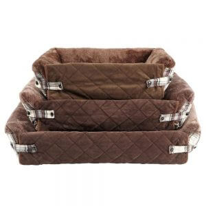 Bunty Stirling Dog Bed Soft Washable Tartan Fabric Cushion Sofa Chair Pet Basket, Brown / Small
