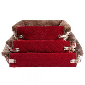 Bunty Stirling Dog Bed Soft Washable Tartan Fabric Cushion Sofa Chair Pet Basket, Red / Small