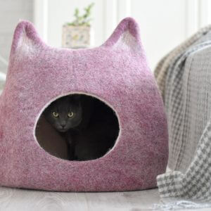 Cat Bed, Cat Lovers Gift, Cave, House, Ecofriendly Handmade Felted Wool Light Purple Natural White, Unique Nap