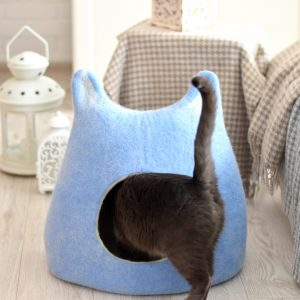 Cat Bed Cave, Cat Wool, Felt, House, Sky Blue From Small Dog Bed, Modern Pet Lovers Gift, House