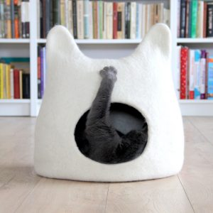 Cat Bed Cave From Natural White Felted Wool. Warm & Comfy Pet Bed. Lovers Gift