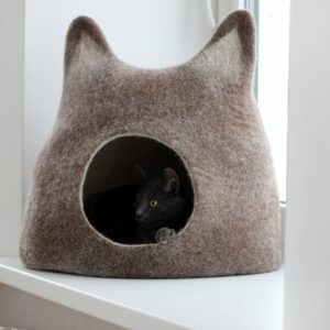 Cat Bed Cave Wool Cat House Brown With White. Eco-Friendly Handmade Felted Bed. Valentines Gift Love