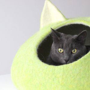Cat Bed Cave. House From Natural Wool. Chartreuse Green Pet Bed