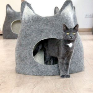 Cat Bed With Ears From Natural Grey Wool. Felted Wool Cat Cave. Small Dog Bed. Stylish Gift For Pets