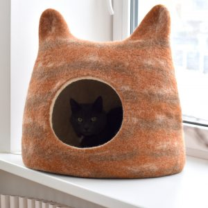 Cat Bed With Ears From Natural Wool. Felted Wool Cat Cave. Tabby Bed. Stylish Gift For Pets