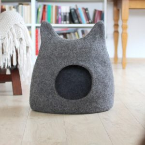 Cat Bed. Pet Christmas Gift. Wool Cat House. Modern Cave