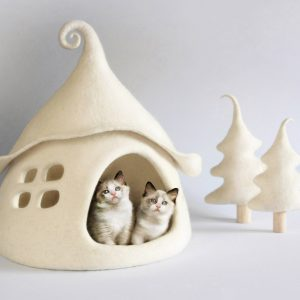 Cat House, Cave, Bed, Cave Wool, Felt, Felted Cat Fairy Sheep Eco Friendly, Christmas Gift