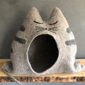 Cat House Sally Taupe Colors - Handmade, Unique, Cave, Cat, Gift, Wool, Felt, Bed, Lover, Furniture