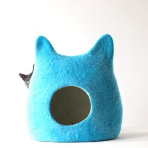 Cat Lovers Gift. Wool Cat Bed Cave. House. Pet Sleeping Place