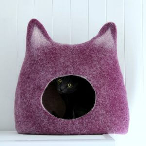 Cat Lovers Gift. Wool Cat Bed. Felt Cave. House