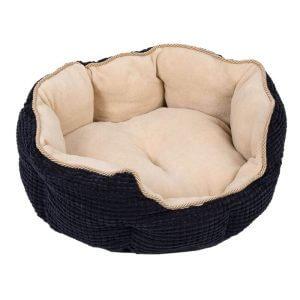 Cozy Kingdom Snuggle Bed - Black / Beige - 60 x 55 x 22 cm (L x W x H)
