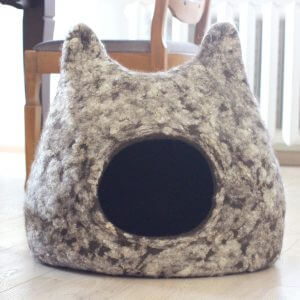 Curly Cat Bed, Modern Felt House, Wool Cave, Dark Black Brown Pet Bed With Natural White Beige Curls, Gift