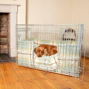 Dog Crate, Cushion & Bumper Set in Duck Egg Balmoral Tweed