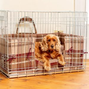 Dog Crate, Cushion & Bumper Set in Mulberry Balmoral Tweed