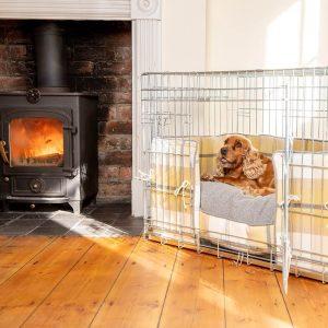 Dog Crate, Cushion & Bumper Set in Ochre Ash Balmoral Tweed