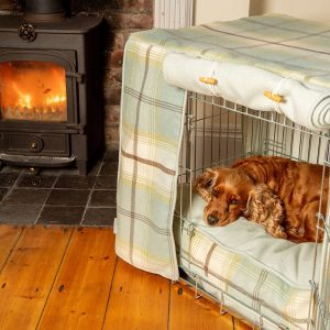 Duck Egg Balmoral Tweed Dog Crate, Cover & Cushion Set - Available in 4 Sizes 2 Crate Colours