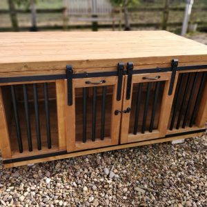 Handmade Wooden Dog Crate Furniture With Sliding Doors