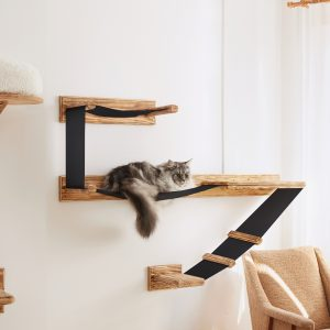 Large Wall Mounted Cat Shelf Play Platform With Bed - Solid Wood Sleeper Wooden Furniture Collection