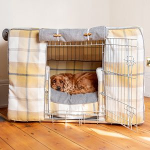 Ochre Ash Balmoral Tweed Dog Crate, Cover & Cushion Set - Available in 4 Sizes 2 Crate Colours