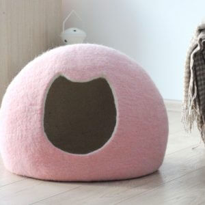 Pale Pink Cat Bed. Gift For Cat. Wool Cave