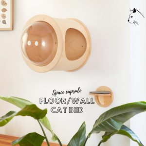 Panoramic Dome Cat Perch - Unique & Modern Wall Mounted Pet Round Shape Cave Bed Furniture Handrafted Nap Cocoon