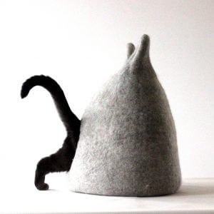Pet Bed. Wool Cat Light Grey Cave. Gift For Pets