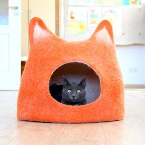 Pet Houses. Wool Cat Bed. Felt Cave. Orange House. Pets Basket