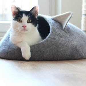 Pets Bed. Cat Bed With Ears. Pet Lovers Gift. Felt Cat Cave