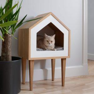 Premium Cat House, Oak Wood Tree, Pet Cot, Bed, Indoor Furniture Design