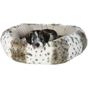 Trixie Leika Plush Dog Bed - White / Light Brown - Diameter 50cm
