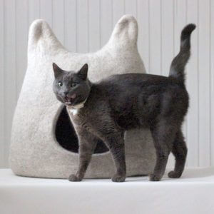 Unique Gift For Pet. Modern Cat Bed. Felt Wool Cave
