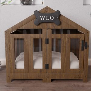 Walnut & Ivory - Gabled Modern Dog Crate, Bed, Kennel, Wood House, Pet Furniture, Wlo