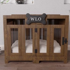 Walnut & Ivory - Pueblo Modern Dog Crate, Bed, Kennel, Wood House, Pet Furniture, Wlo