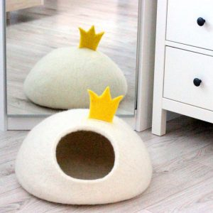 White Cat Bed With Princess Crown Wool Cave House Handmade Original Gift For Pets Small Dog Stylish Home Decor Modern
