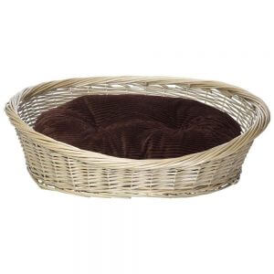 Wicker Basket and Chester Oval Fleece Dog Bed, Brown / Small