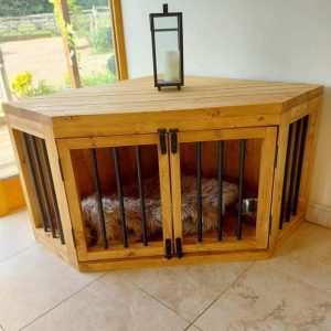 Wooden Dog Crate Furniture Corner Unit
