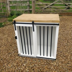 Wooden Dog Crate Furniture With Sliding Doors