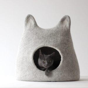 Wool Cat Bed Cave Felt House Nap. Light Grey Wool With Ears. Valentines Gift Love