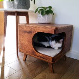 stylish Plywood Cat House, Cozy Bed Rustical Box Dark Oak From Purrfur